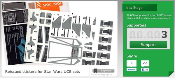 LEGO Cuusoo - Reissued stickers for Star Wars UCS sets project