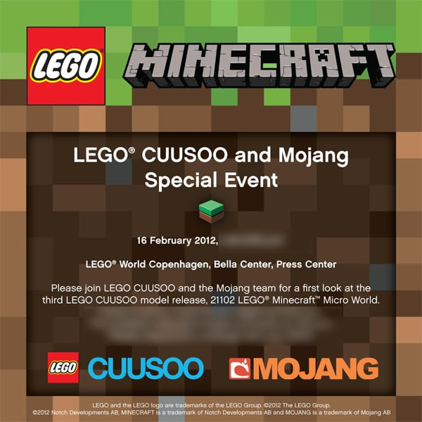 LEGO CUUSOO Minecraft set to be Revealed at LEGO World Copenhagen