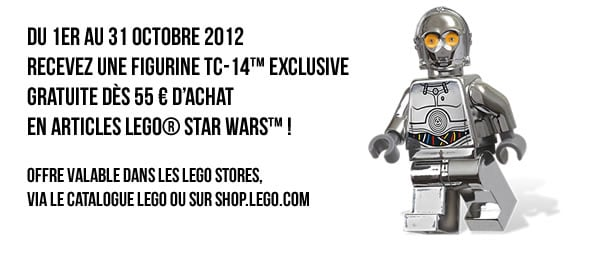 Recevez une figurine TC-14™ exclusive GRATUITE dès 55 € d'achat en articles LEGO® Star Wars™ !