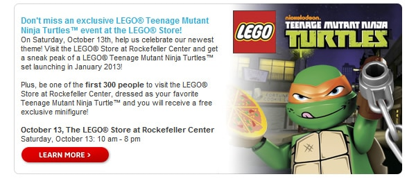 Don't miss an exclusive LEGO® Teenage Mutant Ninja Turtles™ event at the LEGO® Store!