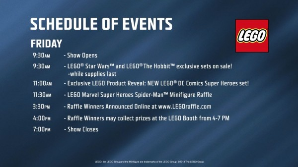 LEGO Schedule of events