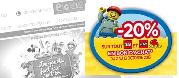 -20% en bon d'achat sur la gamme LEGO chez Picwic