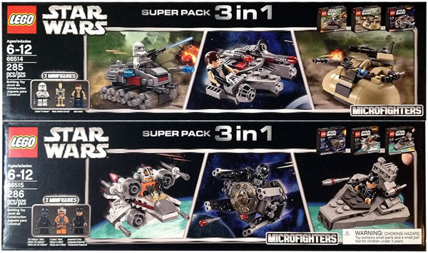 LEGO Star Wars Microfighters 66514 & 66515 Super Packs 3 in 1