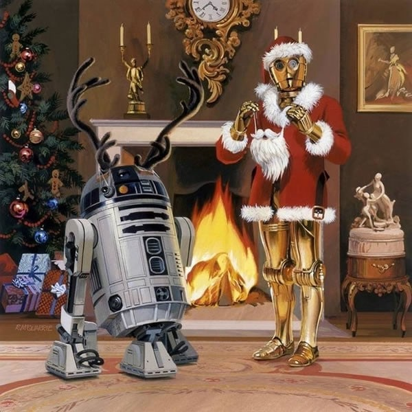 1979 Christmas Card (C-3PO Santa and R2-D2 with Antlers by Ralph McQuarrie)