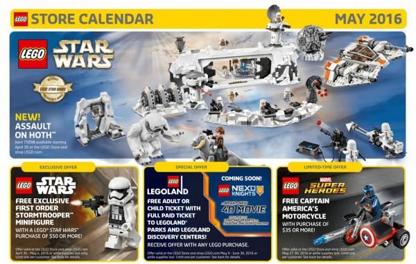 U/S LEGO Store Calendar - May 2016