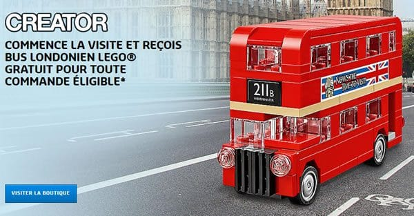Jusqu'au 22 octobre : Set LEGO Creator 40220 Mini London Bus offert