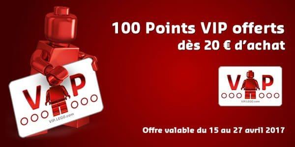 Du 15 au 27 avril 2017 : 100 points VIP offerts dès 20 € d'achat