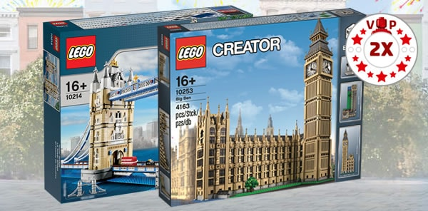 LEGO Shop : Points VIP doublés sur les sets 10214 Tower Bridge et 10253 Big Ben
