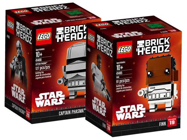 Nouveaux sets LEGO Star Wars BrickHeadz : 41485 Finn & 41486 Captain Phasma