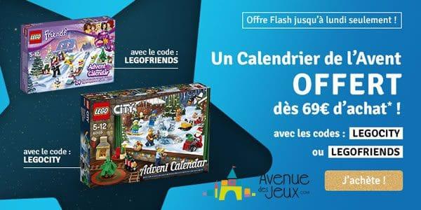 Chez Avenue des Jeux : Calendrier de l'Avent LEGO offert dès 69 € d'achat