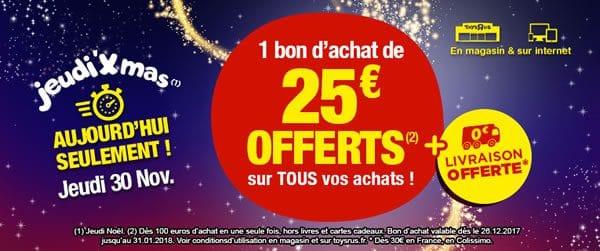 Chez Toys R Us : bon d'achat de 25 € offert dès 100 € d'achat