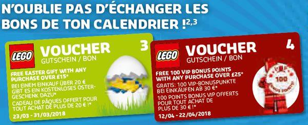 LEGO Store Calendar - Mars/Avril 2018