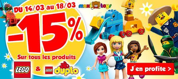 Chez Maxi Toys : 15% de réduction sur l'ensemble de l'offre LEGO et DUPLO