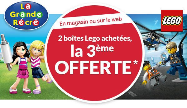 Chez la Grande Récré : 2 boites LEGO achetées, la 3ème offerte