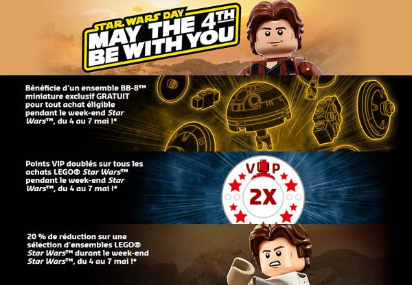 May the 4th chez LEGO : Polybag offert, points VIP doublés et réductions