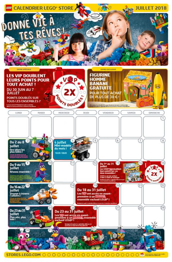 LEGO Store Calendar FR - Juillet 2018