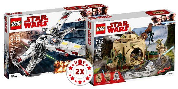 75218 X-Wing Starfighter (99.99 €) et 75208 Yoda's Hut (29.99 €)