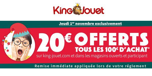Chez King Jouet : 20 € offerts tous les 100 € d'achat