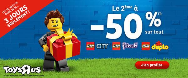 Chez Toys R Us : 50% de réduction immédiate sur le 2ème produit LEGO acheté