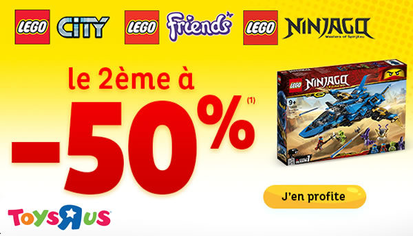 Chez Toys R Us : 50% de réduction immédiate sur le 2ème produit LEGO