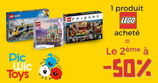 Chez PicWicToys : 50% de réduction immédiate sur le 2ème produit LEGO acheté