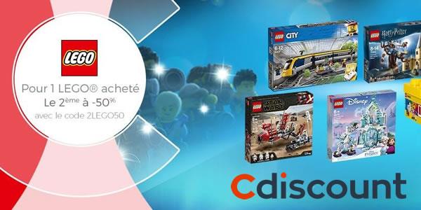 Chez Cdiscount : 50% de réduction immédiate sur le 2ème produit LEGO acheté