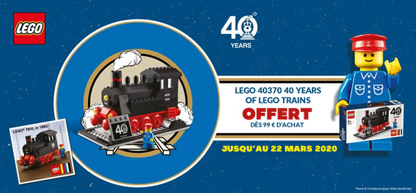 LEGO 40370 40 Years of LEGO Trains offert dès 99 € d'achat : offre prolongée
