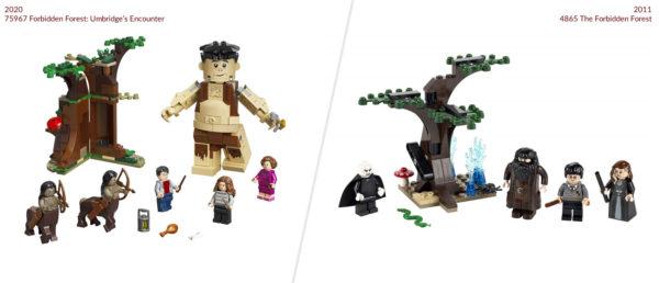 lego harry potter 75967 forbidden forest umbridge encounter 2020 vs 4865 forbidden forest 2011