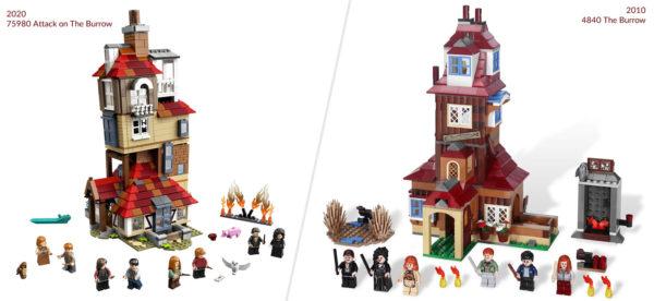 lego harry potter 75980 attack burrow 2020 vs 4840 burrow 2010