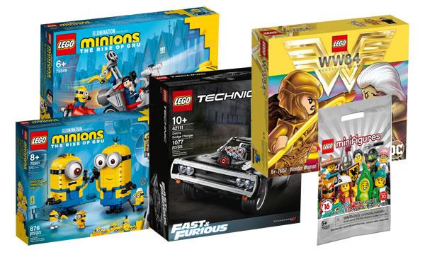 Disponibles sur le Shop LEGO : Dodge Charger Technic, sets Minions, Wonder Woman et Minifigs de la série 20