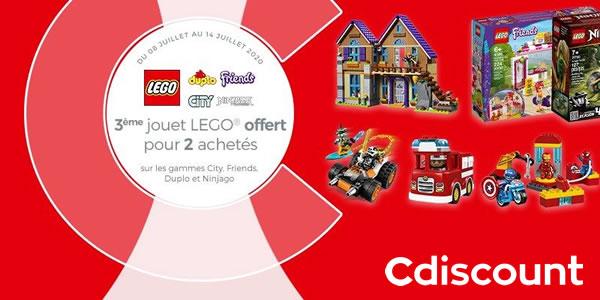Chez Cdiscount : 2 produits LEGO CITY, Friends, Ninjago ou DUPLO achetés, le 3ème offert