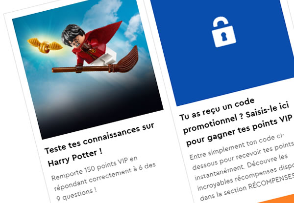 Programme VIP LEGO : 150 points offerts via un quiz sur l'univers Harry Potter