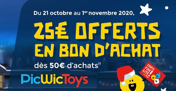 Chez PicWicToys : 25 € offerts en bon d'achat dès 50 € d'achats