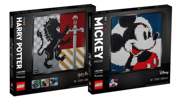 Nouveautés LEGO Art 2021 : les visuels des sets 31201 Hogwarts Crests et 31202 mickey & Minnie Mouse sont disponibles