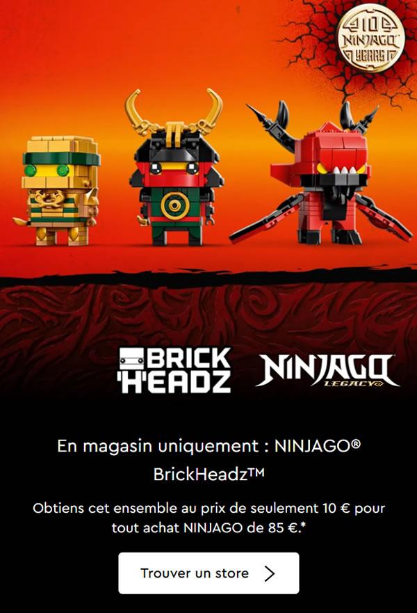 lego ninjago brickheadz 40490 pack anniversary offer 2021 france offre