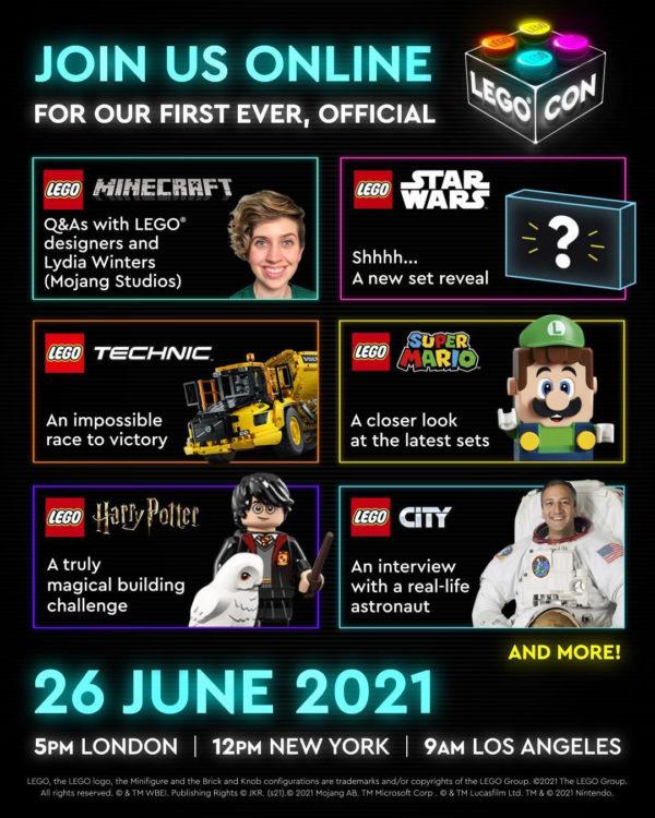 lego con 2021 programme lego starwars reveal