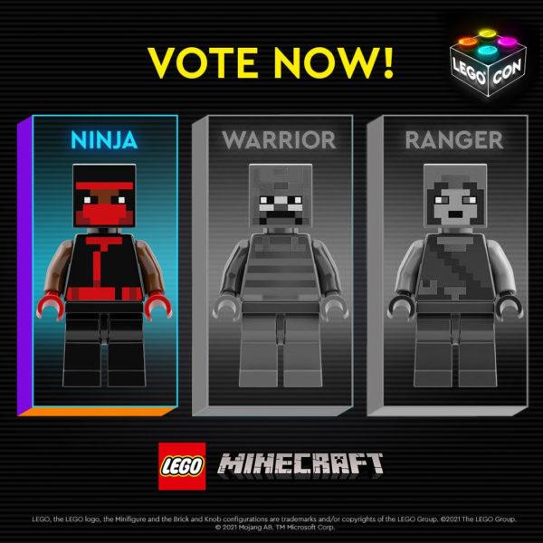 lego minecraft skin character vote lego con 2021