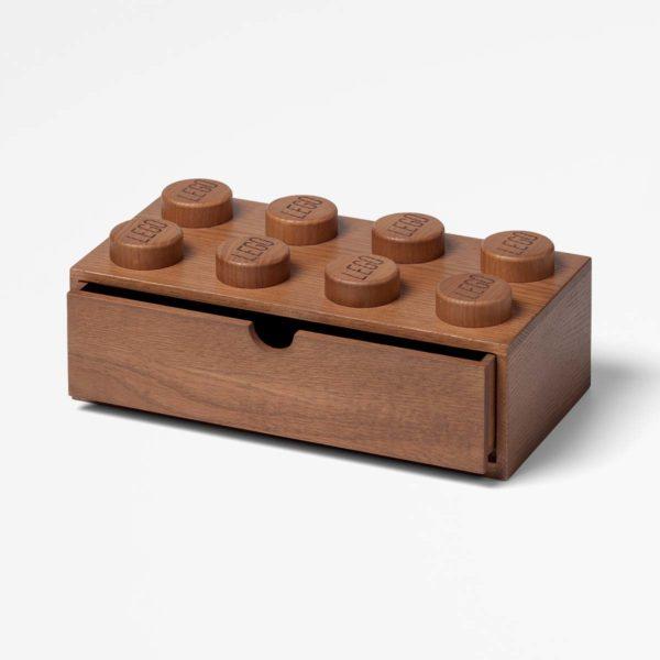 40210901 LEGO 2x4 Wooden Desk Drawer Dark Stained 1