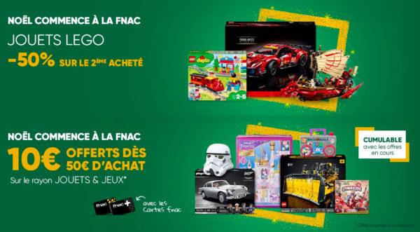 Offres sur FNAC.com : -50% sur le 2ème set LEGO acheté et 10 € offerts